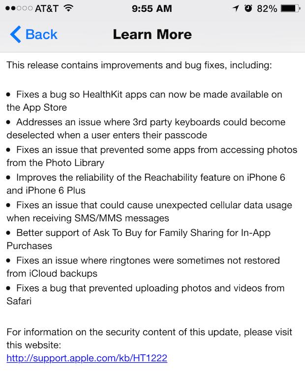 Note sulla versione di iOS 8.0.1
