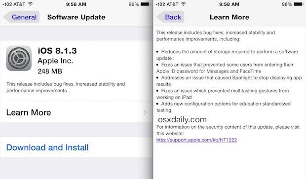 Scarica e installa iOS 8.1.3