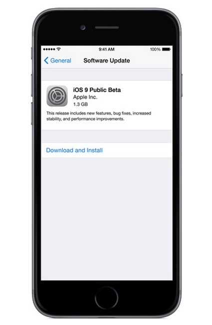 Installazione di iOS 9 Public Beta