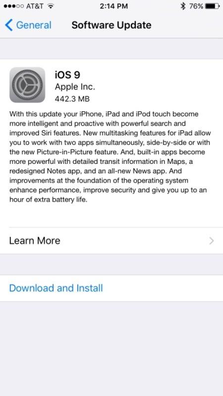 Scarica e installa iOS 9