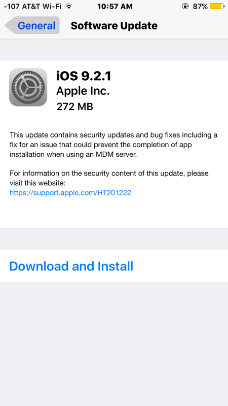 Download dell'OSO per iOS 9.2.1