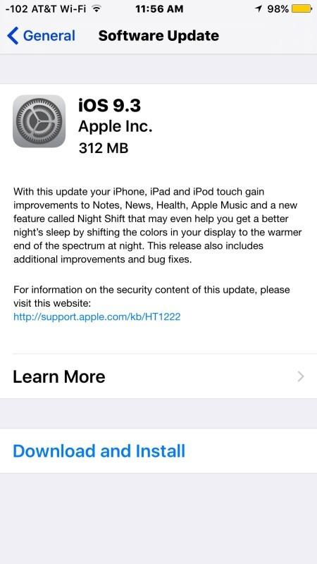 Aggiornamento software iOS 9.2 disponibile per il download e l'installazione ora