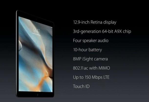 Specifiche tecniche di iPad Pro