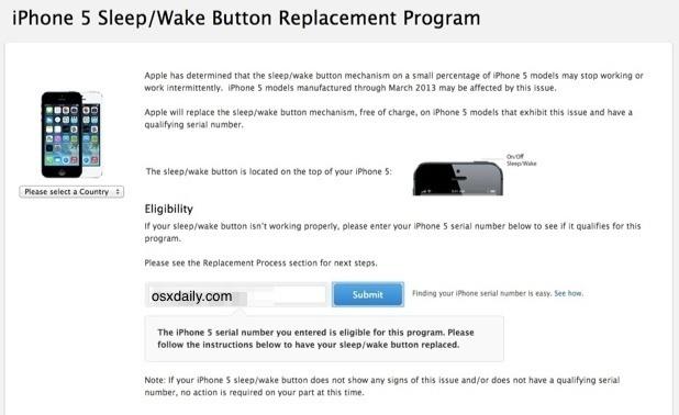Programma di sostituzione pulsante iPhone 5 Power / Sleep / Wake
