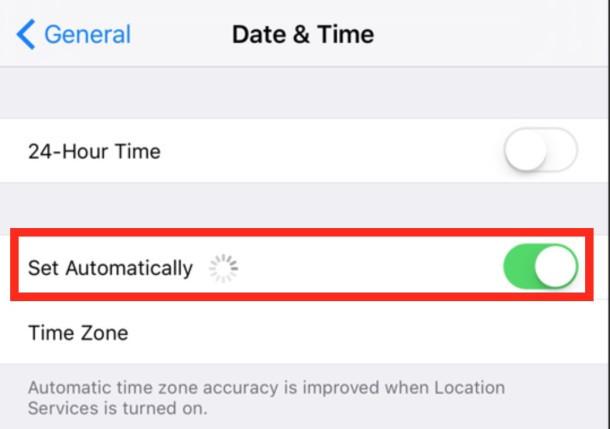 Imposta la data e l'ora dell'iPhone automaticamente tramite Internet