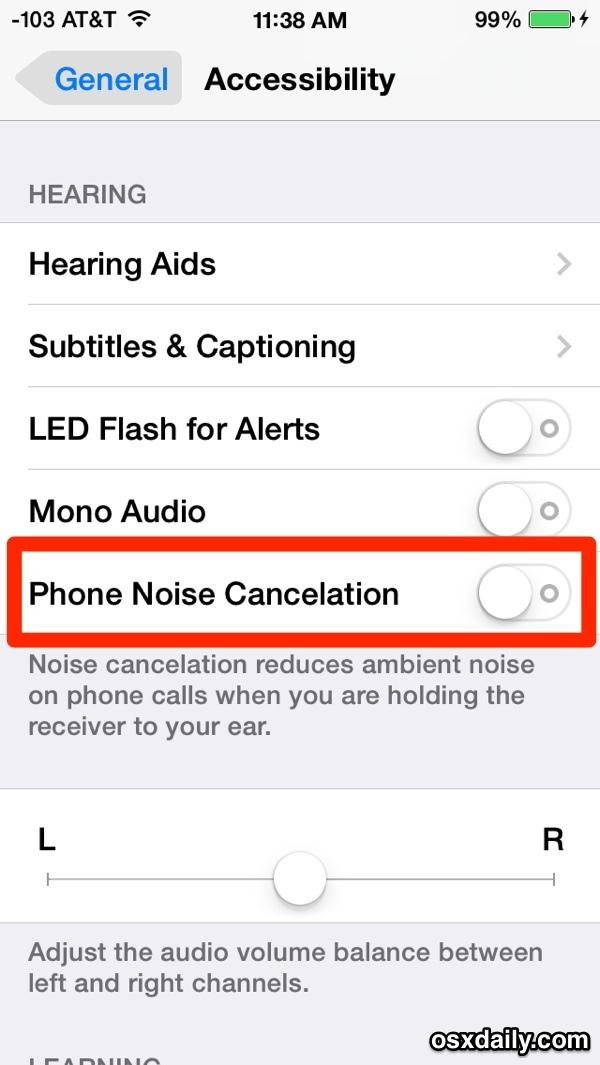 Funzione di annullamento del rumore del telefono iPhone in iOS