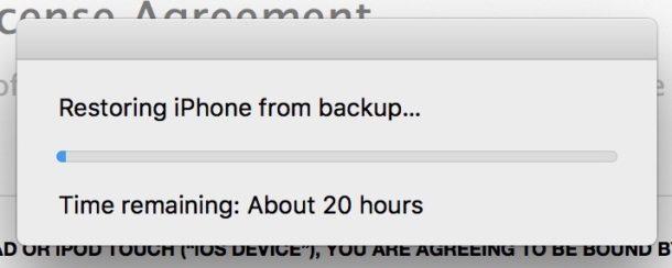 iTunes ripristina i tempi di backup che durano per sempre su iPhone