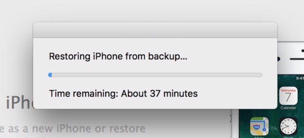 Ripristino normale dal tempo di backup di iTunes rimanente