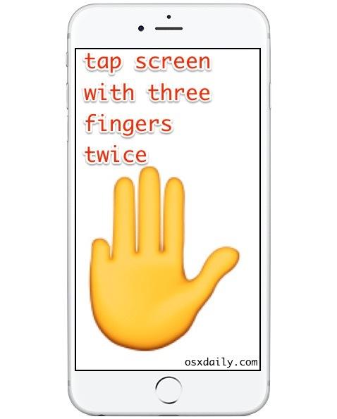 Tocca due volte con tre dita per uscire dalla modalità Zoom su iPhone