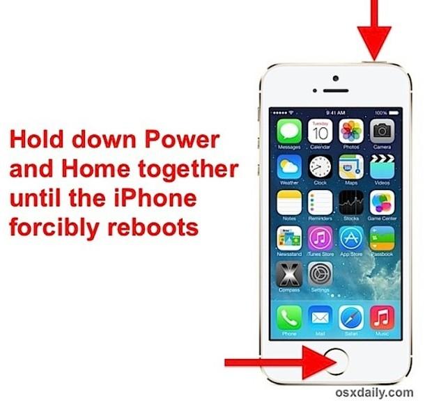Forza riavviare un iPhone / iPad