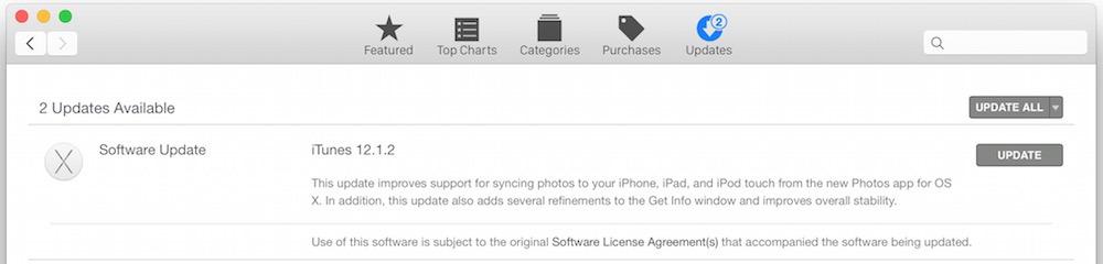 Aggiornamento di iTunes 12.1.2