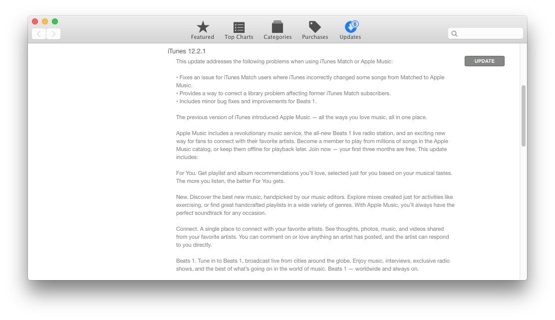 Aggiornamento del software iTunes 12.2.1