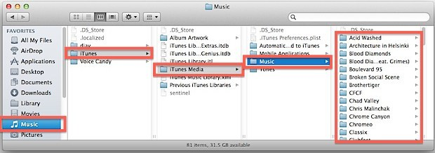 Canzoni, file e musica di iTunes su un Mac