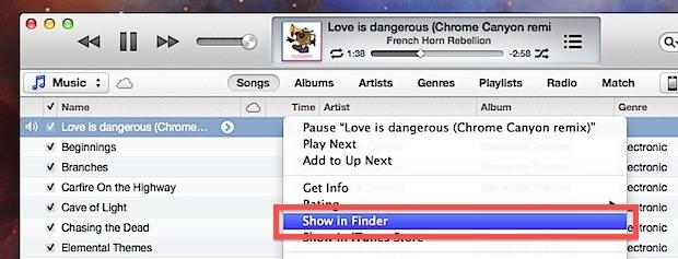 Mostra istantaneamente la canzone di iTunes nel file system