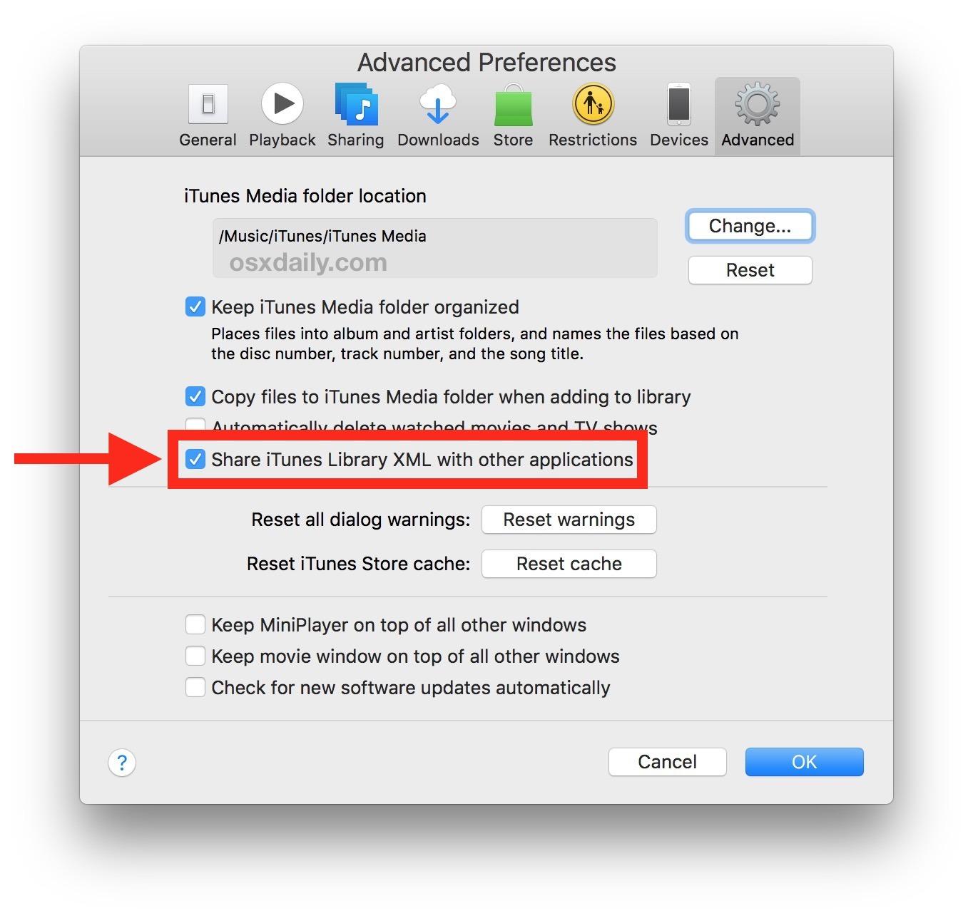 Come impostare iTunes per creare il file XML della libreria di iTunes