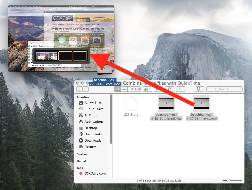 Trascina e rilascia per unire file di film insieme in Mac OS X con QuickTime