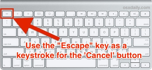Tasto Esc come pulsante Annulla in Mac OS X