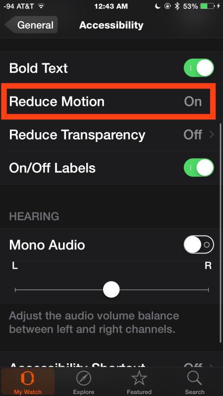 Riduci il movimento su Apple Watch attraverso l'app iOS Watch