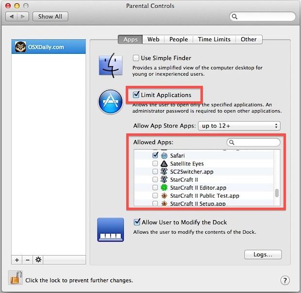 Limita l'utilizzo delle applicazioni per gli utenti in Mac OS X