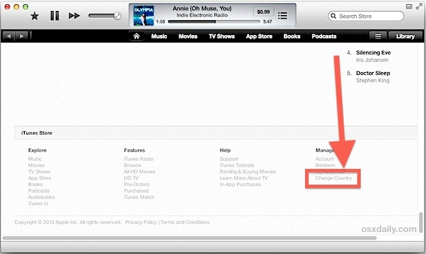 Cambia Paese in iTunes