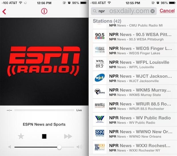 ESPN Radio e NPR Radio in iTunes su iPhone