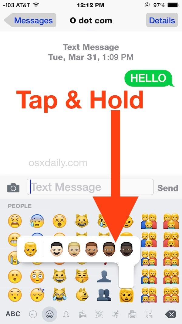 Accesso alle diverse variazioni di tonalità della pelle Emoji su iPhone