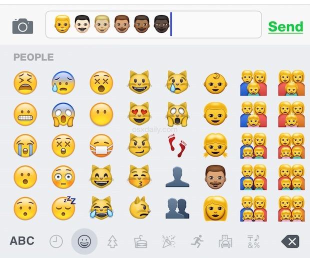 Digitando le nuove variazioni di tonalità della pelle Emoji