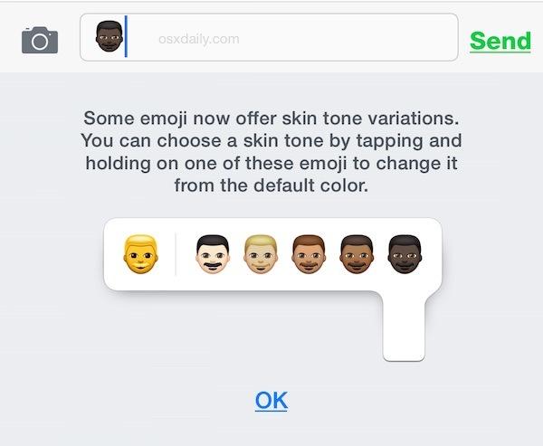 Lo spiegatore di variazione della tonalità della pelle Emoji per iOS