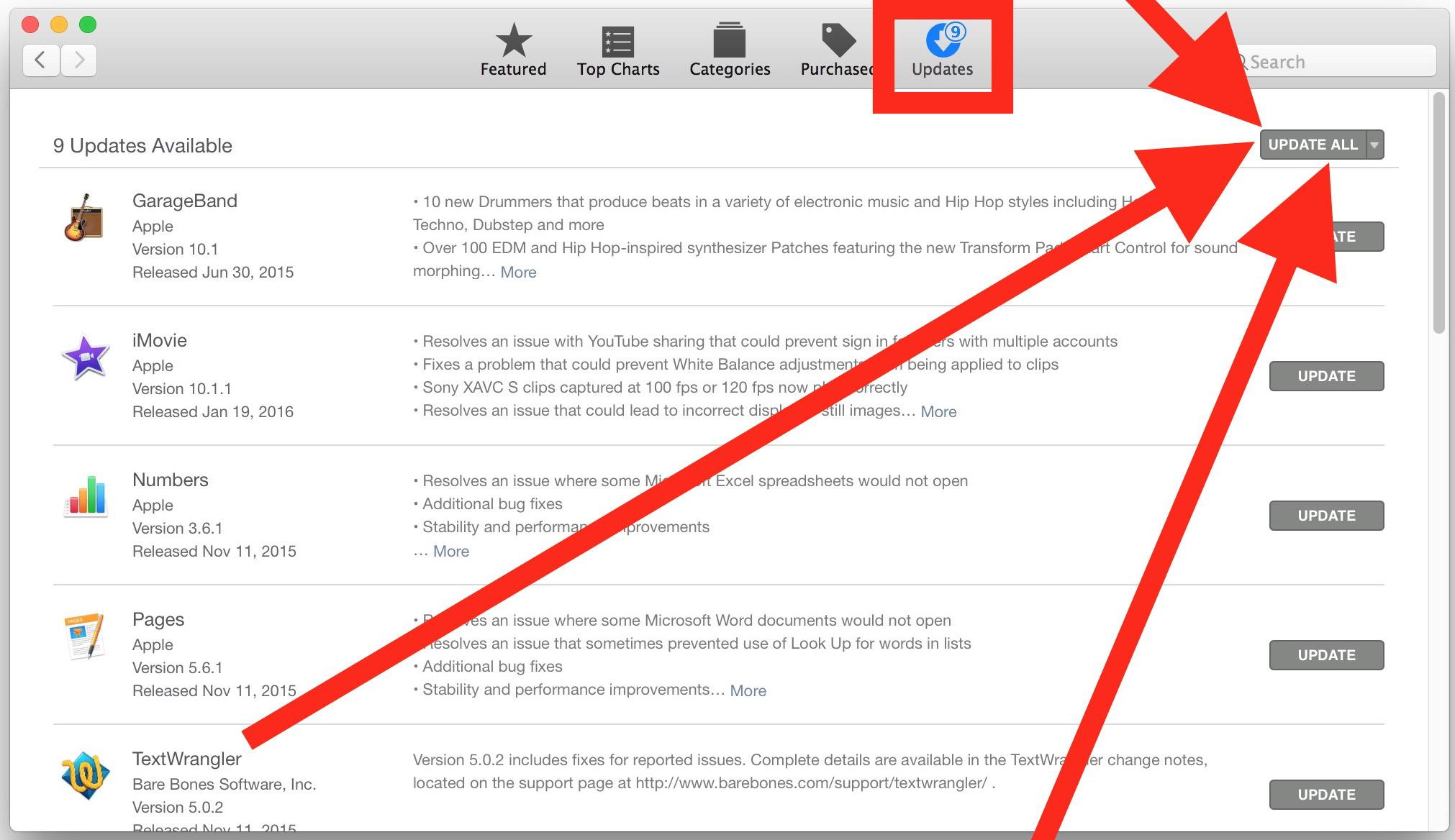Aggiorna le app del Mac App Store per ripararle dal crash al momento del lancio