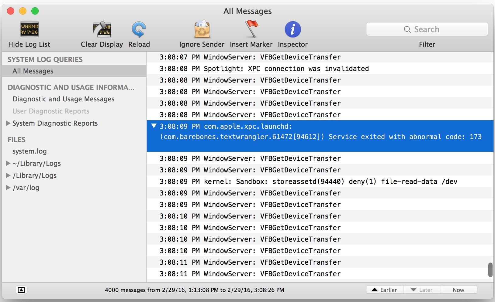 Errore 173 nella console quando le app dell'app store si bloccano all'avvio