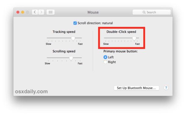Regola l'impostazione della velocità del doppio clic del mouse in Mac OS