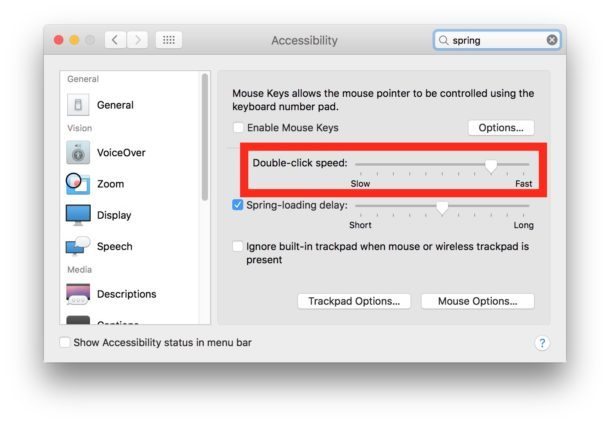 Regolazione della velocità del clic per fare doppio clic su Impostazioni Mac OS