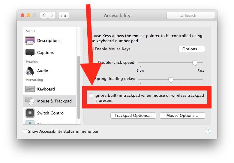 Correggi Mac per utilizzare contemporaneamente il trackpad interno e il mouse o il trackpad esterni