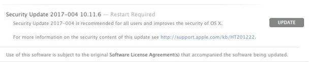 Aggiornamento di sicurezza per Mac OS X disponibile separatamente