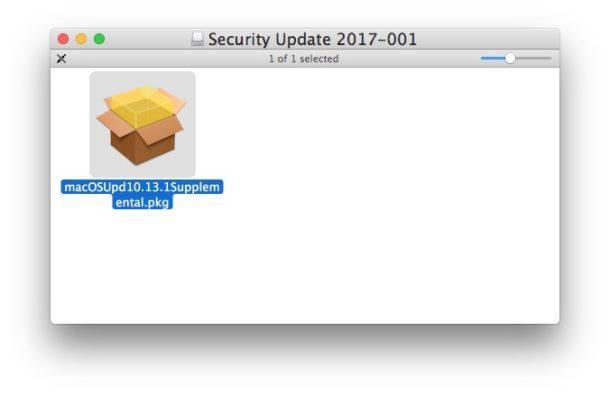 Aggiornamento supplementare MacOS 10.13.1