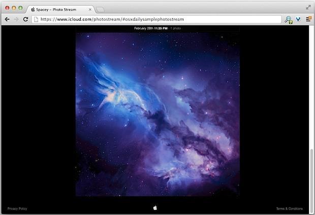 Sito web di esempio di Photo Stream