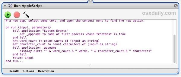 Lo script di conteggio delle parole in Automator