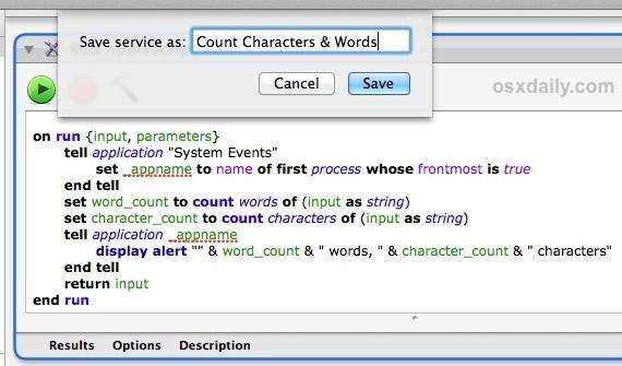 Salva il servizio come contatore di parole e caratteri