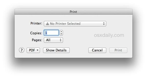La finestra di stampa predefinita in Mac OS X