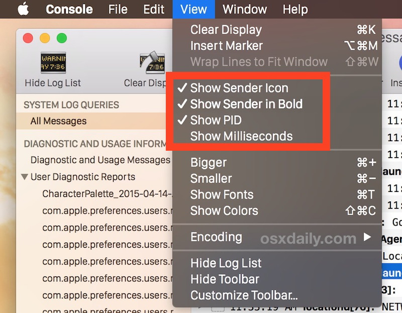 Fai in modo che la Console sia facile da scansionare e leggere in Mac OS X