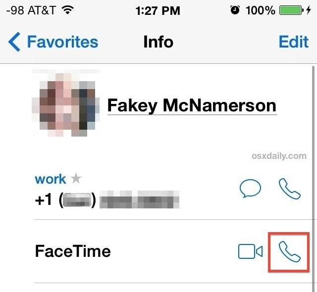 Fai chiamate VOIP audio FaceTime da iOS