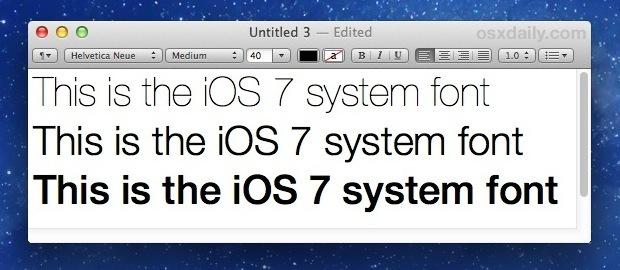 Carattere del sistema iOS Helvetica Neue