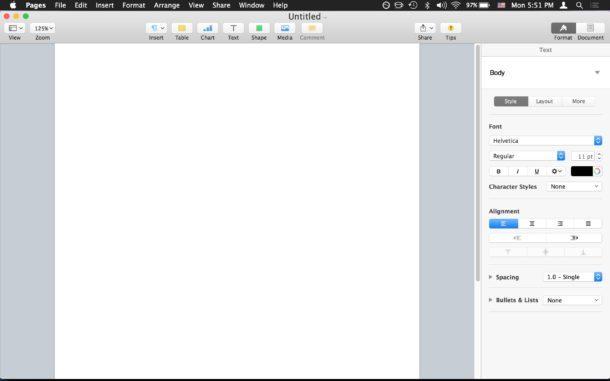 Nuove pagine vuote doc all'avvio per Mac