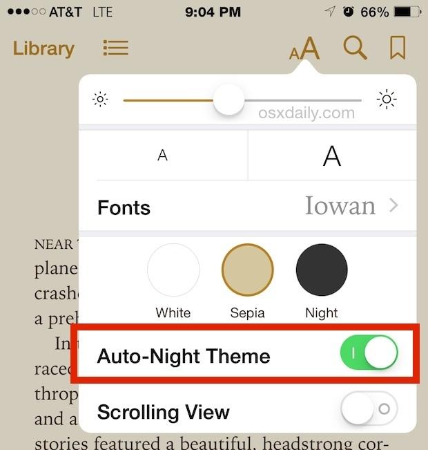 Tema Auto Night per iBooks in iOS