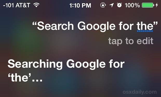 Di 'a Siri di usare Google o Yahoo come ricerca web alternativa