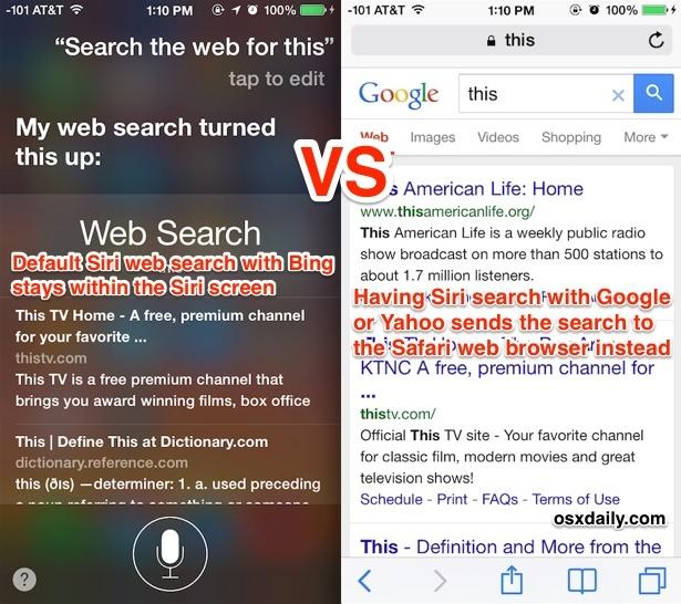 Cercando sul web con Siri vs chiedendo a Siri di cercare su Google o Yahoo