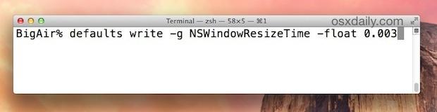 Accelera la finestra di ridimensionamento del tempo di animazione in Mac OS X con una stringa di comando predefinita