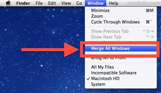 Unisci tutte le finestre porta tutte le finestre nelle schede del Finder in OS X