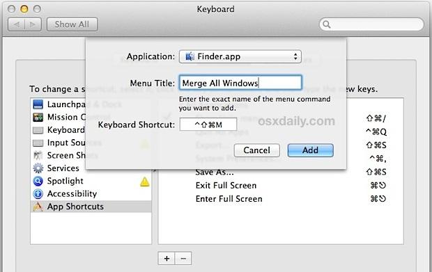 scorciatoia da tastiera per unire le finestre del Finder in schede