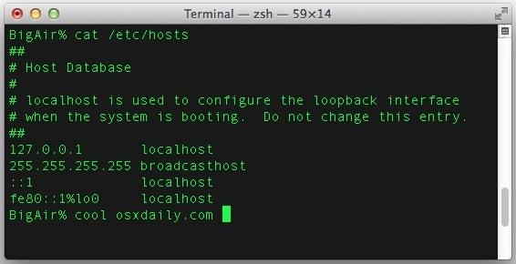 Il file host originale, non modificato in Mac OS X è facile da ripristinare, se necessario